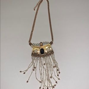 Gold Statement Necklace with White Beads